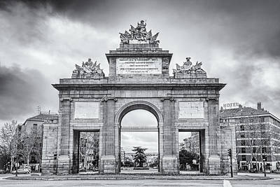 Portal Photograph - Puerta De Toledo Madrid Bw by Joan Carroll