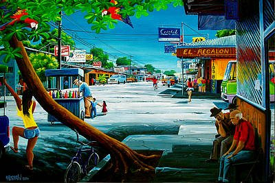 Painting - Puerto Jimenez Street Scene by Michael Cranford