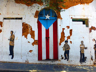 Photograph - Puerto Rican Flag On Wooden Door by Steven Spak