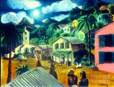 Painting - Puerto Rican Village Dusk by Jose Breaux