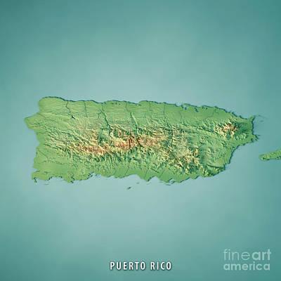 Puerto Rico 3d Render Topographic Map Art Print