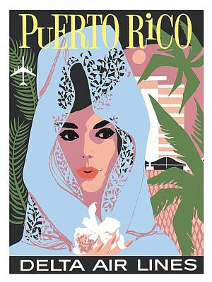 Puerto Rico Delta Air Lines Woman In Blue Lace Mantilla Vintage Travel Poster Print by Retro Graphics