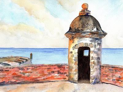 Painting - Puerto Rico Sentry Box Ocean View by Carlin Blahnik CarlinArtWatercolor