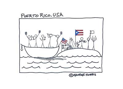 Drawing - Puerto Rico, Usa by George Hobbs