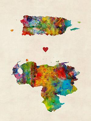 Digital Art - Puerto Rico Venezuela Love by Michael Tompsett