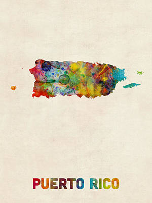 Caribbean Digital Art - Puerto Rico Watercolor Map by Michael Tompsett