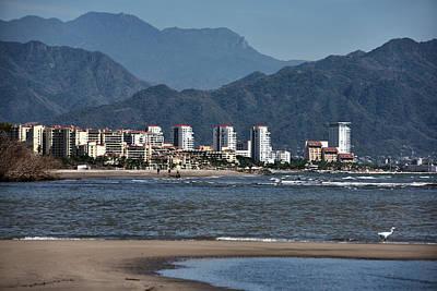 Mexico Photograph - Puerto Vallarta Highrise Hotels From Sandbank On Banderas Bay Wi by Reimar Gaertner