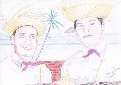 Portrait Drawing - Puertorican Friends by M Valeriano