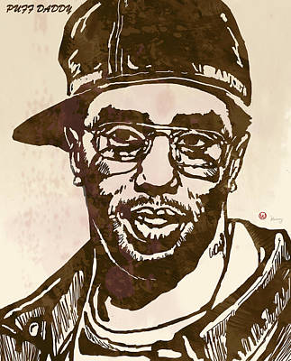 Artist Mixed Media - Puff Daddy Pop Stylised Art Sketch Poster by Kim Wang