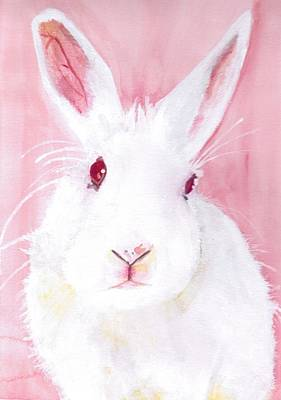Lagomorphs Painting - Puff The Red-eyed White Beauty by Kelly Jay