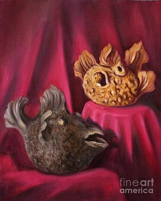 Burned Clay Painting - Puffer Fish Teapots by Randy Burns