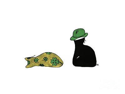 Art Print featuring the drawing Puffie And Muffie St. Patrick's Day by Rachel Lowry
