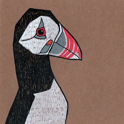 Puffin Drawing - Puffin by Bizarre Bunny
