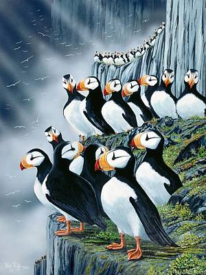 Waterfowl Painting - Puffin College by Bob Patterson
