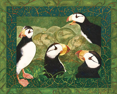 Painting - Puffin Talk by Dee Van Houten