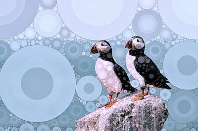 North Sea Mixed Media - Puffins By The Sea by Susan Maxwell Schmidt