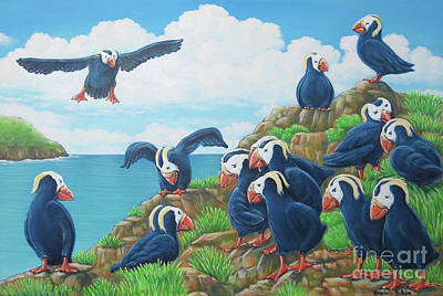 Painting - Puffins by Elisabeth Sullivan