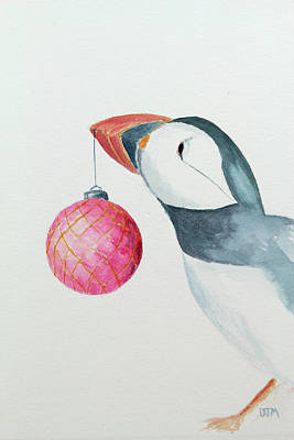 Watercolor Painting - Puffin's First Christmas by Doug Moore