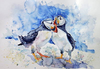 Puffin Wall Art - Painting - Puffins by Kovacs Anna Brigitta