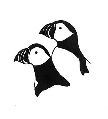 Puffin Drawing - Puffins Linocut by Ed Einboden