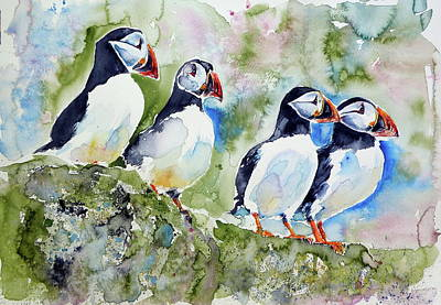 Puffin Wall Art - Painting - Puffins On Stone by Kovacs Anna Brigitta