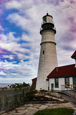 Photograph - Puffy White Clouds Above Portland Lighthouse by Jeff Folger