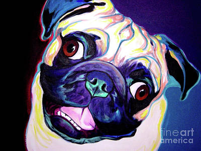 Dawgart Painting - Pug - Rider by Alicia VanNoy Call