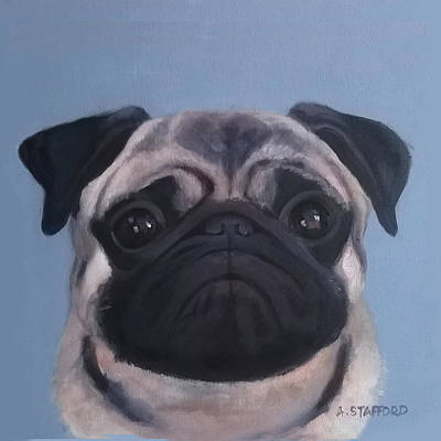 Wall Art - Painting - Pug by Alison Stafford