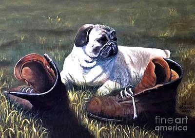 Pug Painting - Pug And Boots by Judy Kirouac