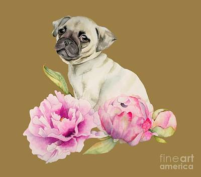 Painting - Pug And Peonies - Watercolor Illustration by NamiBear