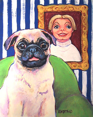 Painting - Pug - Beth Ann And Butch by Rebecca Korpita