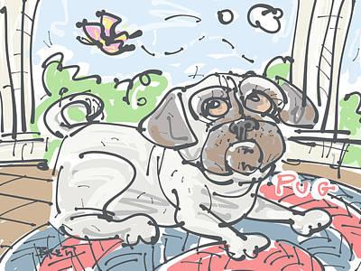 Lazy Dog Drawing - Pug by Brett LaGue