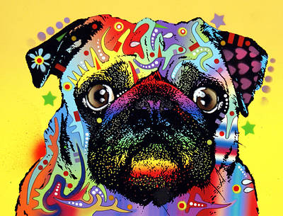 K9 Painting - Pug by Dean Russo