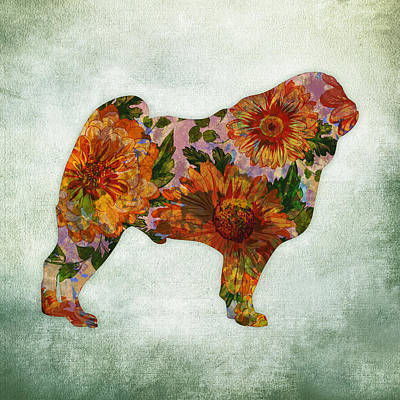 Pug Dog Floral On Green Art Print
