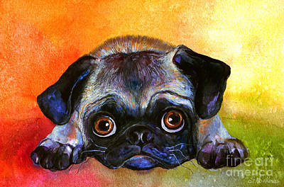 Watercolor Pet Portraits Painting - Pug Dog Portrait Painting by Svetlana Novikova