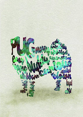 Dog Abstract Art Painting - Pug Dog Watercolor Painting / Typographic Art by Inspirowl Design