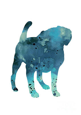 Puggle Painting - Pug Dog Watercolor Poster by Joanna Szmerdt