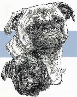 Mixed Media - Pug Father And Son by Barbara Keith