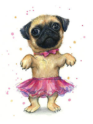Funny Dog Painting - Pug In A Tutu by Olga Shvartsur