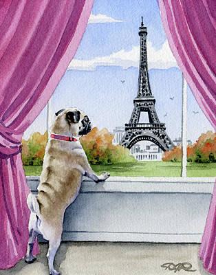 Paris Painting - Pug In Paris by David Rogers
