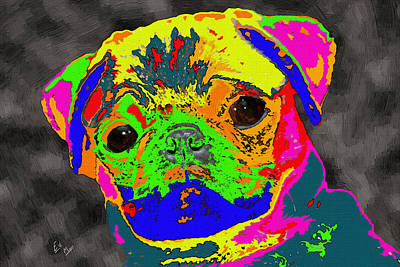 Pug In The Paint Bucket Art Print