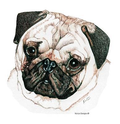 Christmas Drawing - Pug by Kathleen Sepulveda