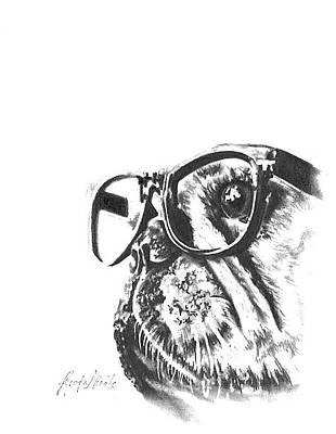 Drawing - Pug Life by Jeleata Nicole