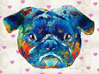 Buy Dog Art Painting - Pug Love Dog Art By Sharon Cummings by Sharon Cummings