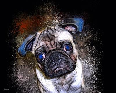 Pup Digital Art - Pug Mug Shot by Scott Wallace