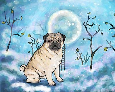Pug Nightsky Art Print