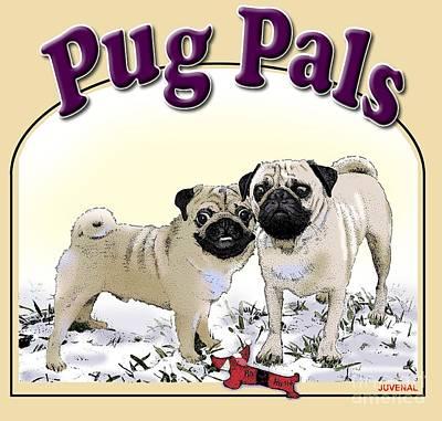 Drawing - Pug Pals by Joseph Juvenal