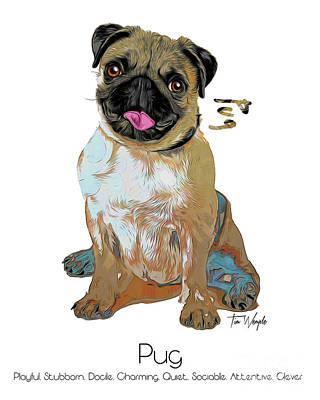 Digital Art - Pug Pop Art by Tim Wemple