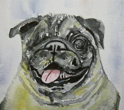 Painting - One Eyed Pug Portrait by Anna Ruzsan