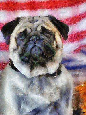Painting - Pug Portrait by Jai Johnson